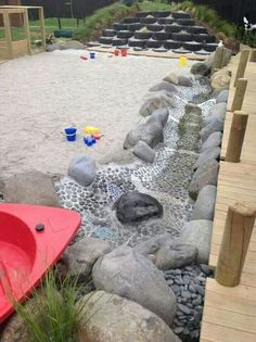 Natural playgrounds - elaborate inspirations and budget friendly options organized by element (sand, water, etc.)