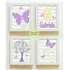 Girl Room - Baby Girl  Decor - Butterfly Nursery Art -  Prints for Nursery or Kids Room,  Match  Lindsey Bedding on Etsy, $48.00