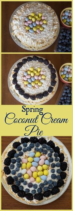 Make an easy Spring dessert by decorating a Coconut Cream Pie with fresh fruit and chocolate eggs. #MarieCallenders #vn #ad