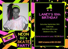 Neon Party Invitation  Neon 80's Skate Party by LillianHopeDesigns