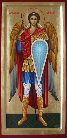 Archangel Michael, Russian Orthodox Church canon painting, 2008. Michael wears the ancient Russian warrior suit here