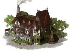 ArtStation - house in middle of age , Hui-Won Park Fantasy City, Fantasy House, Fantasy Places, Environment Concept Art, Environment Design, Minecraft Projects, Minecraft Houses, Building Concept, Building Design