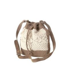 Leather and macrame bag