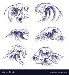 Sketch wave ocean sea waves splash hand drawn vector image on VectorStock Ocean Wave Drawing, Water Drawing, Wave Art, No Wave, Cool Drawings, Tattoo Drawings, Drawing Sketches, Waves Sketch, Art Minimaliste