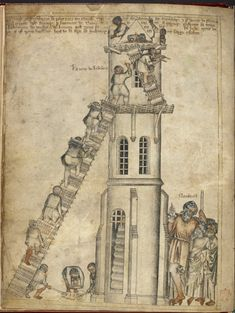 """upennmanuscripts: """" atelierjen: """" The tower of Babel being built by masons, from the Egerton Genesis Picture Book, England, c. The Egerton Genesis Picture Book is one of my all-time. Medieval Manuscript, Medieval Art, Illuminated Manuscript, Medieval Life, Turm Von Babylon, Illustrations Vintage, Epic Of Gilgamesh, Tower Of Babel, Château Fort"""