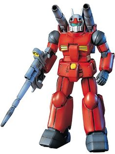 The Gun Cannon in 1/144 scale from Mobile Suit Gundam in its iconic all red color scheme.