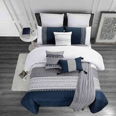 Looking for for inspiration for farmhouse bedroom? Check out the post right here for very best farmhouse bedroom images. This farmhouse bedroom ideas appears to be absolutely brilliant. Navy Blue Bedrooms, Blue Master Bedroom, Blue Bedroom Decor, Navy Blue Bedding, Master Bedrooms, Blue Gray Bedroom, Blue Bedding Sets, Navy Comforter, Relaxing Master Bedroom