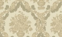 Tapet vinil verde auriu floral 1225 Cristina Masi Carlotta Tapestry, Flooring, Rugs, Interior, Floral, Ceilings, Collection, Walls, Design