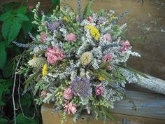 Dried flower Bridal bouquet with Birch holder for bride or bride's maids, in shades of blue and violet. Description from pinterest.com. I searched for this on bing.com/images