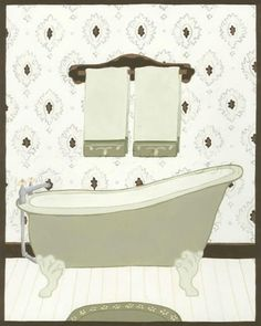 Parisian Bath I Art Print Poster by June Erica Vess Online On Sale at Wall Art Store – Posters-Print.com