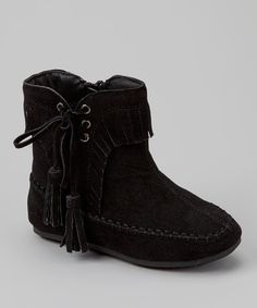 Take a look at this Black Katherine Tassel Ankle Boot by Link on #zulily today!