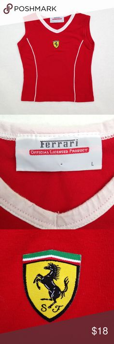 Ferrari Sleeveless Top, with small Ferrari shield Purchased at Museo Ferrari in Maranello, Italy, 88% cotton, 11% spandex, stretch knit fabric, see photo for measurement Ferrari Shirts & Tops Tank Tops