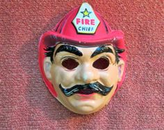 Vintage Fire Chief Plastic 1970s Halloween Mask