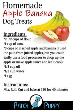 DOg Lovers- Homemade Apple Banana Dog Treats The Effective Pictures We Offer You About Dogs and puppies golden retriever A … Puppy Treats, Diy Dog Treats, Homemade Dog Treats, Healthy Dog Treats, Dog Biscuit Recipes, Dog Food Recipes, Easy Dog Treat Recipes, Dog Care Tips, Pet Tips