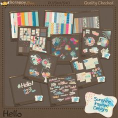 Hello Collection by Sunshine Inspired Designs. This fun, colorful and messy at the same time, digital scrapbooking collection is perfect for all your Springtime and Summertime, or craft layouts. You can use these papers, elements alphas, word art and journaling cards in all your digital scrapbooking, pocket page, art journaling, and card making projects.