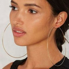 BLIJERY Exaggerated Super Big Hoop Earrings Smooth Large Circle Earrings for Women Statement Jewelry Boucles d'oreilles Circle Earrings, Silver Hoop Earrings, Women's Earrings, Fashion Earrings, Fashion Jewelry, Women Jewelry, Metal Models, Gold Fashion, Designer Earrings
