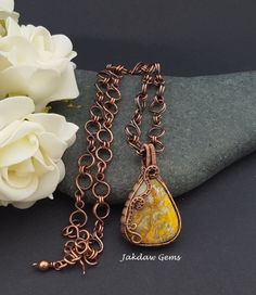 Bumble Bee Jasper and Copper Pendant on a Handmade Copper Chain by JakdawGems on Etsy