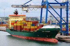 Container Ship in Copenhagen by scotrailm via Flickr