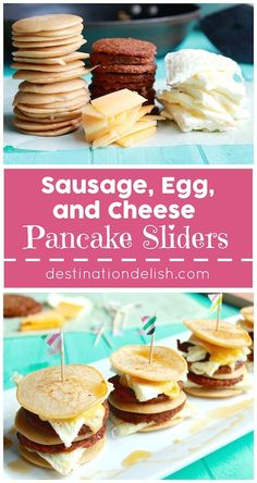 Sausage, Egg, and Cheese Pancake Sliders - The ultimate sweet and salty combo of sausage patties, egg whites, and melted cheese between mini pancakes | Destination Delish