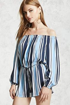 953a8e8f9a11 Forever 21 Contemporary - A woven romper featuring an elasticized off-the- shoulder neckline