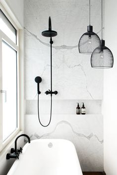 Maglia Pendant in Black - for wetroom..... white, black and grey colour scheme for our wetroom interior design.