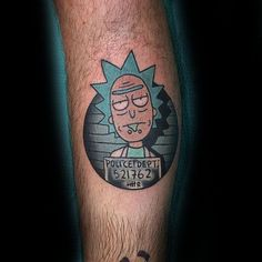 Small Leg Rick And Morty Tattoos Male
