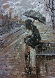 """Buy """" WHERE ARE YOU GOING I """" original painting CITY palette knife GIFT, Oil painting by Monika Luniak on Artfinder. Discover thousands of other original paintings, prints, sculptures and photography from independent artists. Rain Painting, Painting & Drawing, Paintings For Sale, Original Paintings, Rain Art, Umbrella Art, Rain Photography, Walking In The Rain, Rainy Days"""