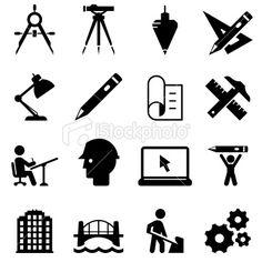 Engineering Icons - Black Series Royalty Free Stock Vector Art Illustration
