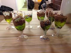 """Palm Sundaes"" for Palm Sunday - Marshmallows & choc chips in the base to be the rocky road into Jerusalem. Green jelly represents the palm leaves spread on the ground. Chocolate whip represents the donkey. A jelly baby on the top for Jesus & sprinkles representing the joy & celebration of the day!  (thanks to Gospels n Glitter Messy Churches, UK)"