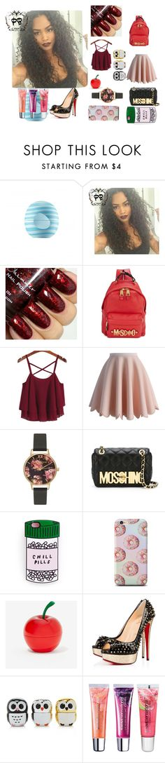 """""""cute on da set"""" by aaliyah-kershaw on Polyvore featuring Eos, Moschino, Chicwish, Olivia Burton, Tony Moly, Christian Louboutin, Forever 21, Maybelline, women's clothing and women"""