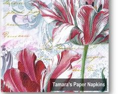 Paper Napkins for Decoupage and Party by tamaraspapernapkins Shabby Chic Napkins, Christmas Paper Napkins, Bamboo Leaves, Paper Napkins For Decoupage, Bird Boxes, Tulips, Retro Vintage, Etsy Seller, Colours