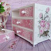 Для дома и интерьера ручной работы. Ярмарка Мастеров - ручная работа «Розы-розочки» Мини-комод для украшений. Handmade.