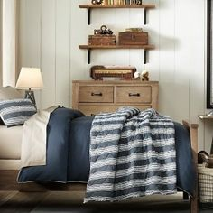 GOOD LOOK WITH THE DRESSER AND 2 SMALL SHELVES  Boys room blue and white / classic details