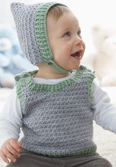 Cute textured vest and hat with contrast color edgings and a pointy elfin touch. Crocheted in Patons Beehive Baby Sport.