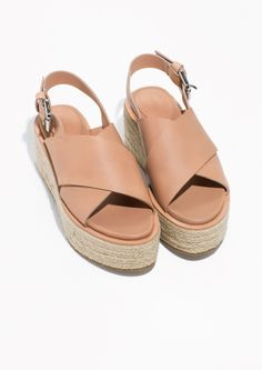 & Other Stories | Leather Wedge Espadrilles