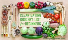 Healthy grocery list for a Clean Eating Diet - Clean Eating Grocery List for Beginners! Change your health today. Healthy.Happy.Smart.