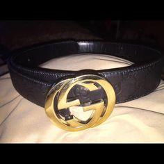 b82083e8a3a40a Authentic Men s Gucci Black Guccissima Belt Gently Worn Authentic Men s  Gucci Black Leather Guccissima Belt