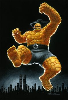 The Thing - Black Board, Greg Hildebrandt Cool Poses, The Thing Is, Dark Backgrounds, Three Dimensional, Colored Pencils, Comic Art, Spiderman, Marvel, Superhero