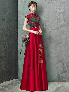 8812e942251 Colorblock Embroidered Floor Length Qipao   Cheongsam Wedding Dress. Chinese  Dress TraditionalRed ...