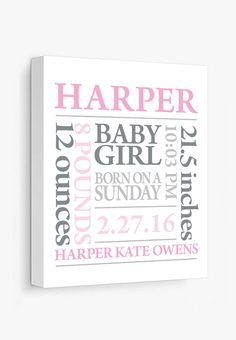 Canvas Print: Baby Subway Art (Pink & Grey)