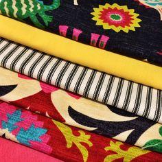 Santa Maria Desert Flower, Mexicali Desert Flower, Classic Ticking in Black, Mayan Medallion Desert Flower, Sun N Shade Outdoor Fabric in Sunburst Canary and Sunburst Petunia