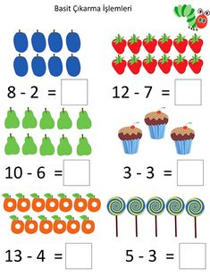 The Very Hungry Caterpillar Theme Activities - Fun Worksheets For Kids, Kindergarten Addition Worksheets, First Grade Math Worksheets, Printable Preschool Worksheets, Math For Kids, Numbers Preschool, Preschool Math, Math Classroom, Math Activities