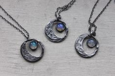 Opal moon handmade sterling sterling silver by TheNocturnalMoon