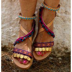 dcdc65c85ce6 boho sandals  pom pom sandals  leather samdals  handmade greek sandals   strappy sandals