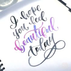 holidays calligraphy quotes I hope you feel beautiful today 💜🖤 Hand Lettering Fonts, Watercolor Lettering, Creative Lettering, Lettering Styles, Lettering Tutorial, Lettering Design, Font Art, How To Write Calligraphy, Calligraphy Quotes