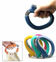 One Trip Grip Bag Holder - looped on wheelchair seat belt and can make it easier to hold shopping bags with weak hands.