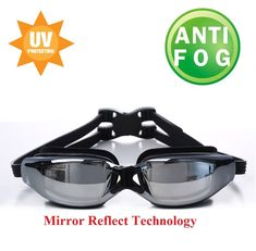 7d9080bb11b4 Black Professional Swimming Goggles Swim Mirror Glasses With Plastic Carry  Case Professional Swimming