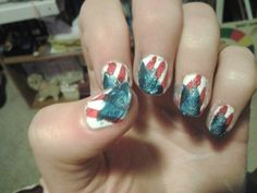 Painted my finger nails with this memorial day american flag nail art design check out www.ThePolishObsessed.com for more nail art ideas.