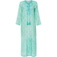 Bella Tu Diana Turquoise Ikat Print Beaded Caftan ($250) ❤ liked on Polyvore featuring tops, tunics, prints, long sleeve tops, shimmer tops, green necktie, print tunic and green slip