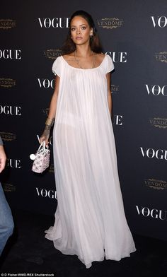 Rihanna goes braless in sheer nightwear-style dress at Vogue party Looks Rihanna, Rihanna Style, Celebrity Dresses, Celebrity Style, Celebrity Women, Sheer Dress, White Dress, Estilo Rihanna, Rihanna Outfits